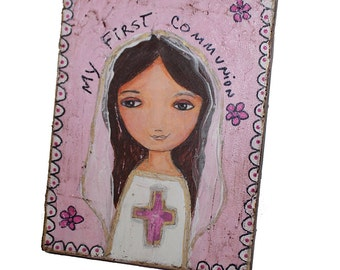 Memorial Sale 30% off at checkout - First Communion Girl with Cross - Original Painting on Wood Block by FLOR LARIOS (6 x 8 inches)