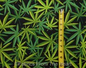 Marijuana Weed Herb Cannibas Nature on Black BY YARDS Alexander Henry Fabric