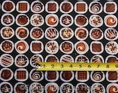 Oh Fudge Chocolate Candy Sweet Truffles on Black BY YARDS Benartex Cotton Fabric