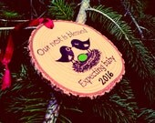 EXPECTING BABY ORNAMENT New Baby Ornament Babys First Christmas Ornament Pregnancy Reveal to Grandparents Baby Gender Reveal Announcement