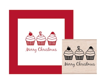 Merry Christmas Cupcakes Rubber Stamp