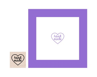 Mini Hand Made Heart Rubber Stamp