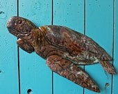 Green Sea Turtle - copper metal marine life art sculpture - wall hanging - with blue-green and naturally-aged patinas - OOAK