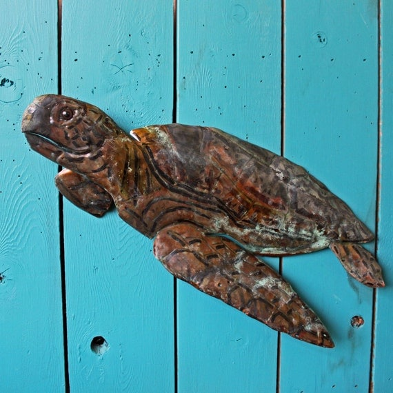 green sea turtle copper metal marine life art sculpture. Black Bedroom Furniture Sets. Home Design Ideas