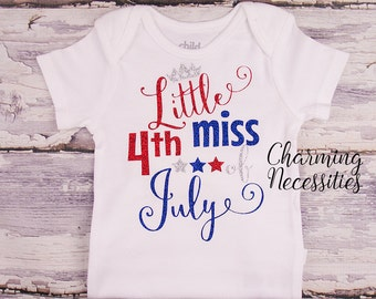 4th of July Patriotic, Toddler Girl Clothes, Baby Girl Outfits, Red White Blue Independance Day Sparkle Shirt Little Miss 4th of July