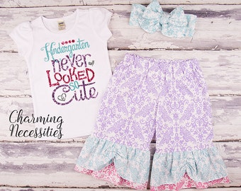 Back To School Outfit, Toddler Girl Clothes, Glitter Top and Ruffle Pants in Kindergarten Never Looked So Cute PASTEL Charming Necessities