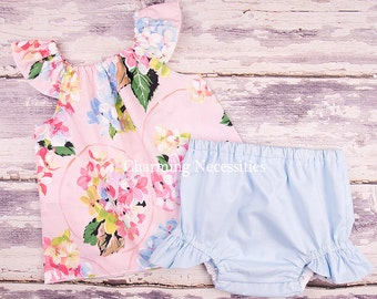 Baby Girl Clothes, Toddler Girl Clothes, Baby Girl Coming Home Outfit,  Baby Shower,  Flutter Top and Diaper Cover in Delightful Pink