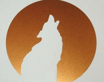 Wolf coyote moon totem copper vinyl decal