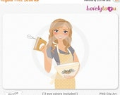 SALE Woman baker clip art, baking hand mixer digital PNG clipart (Bryce 635)