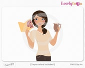 Woman with book and coffee mug, character clipart digital PNG clip art (Georgie 632)