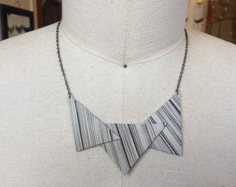 Geometric textured Leather Necklace
