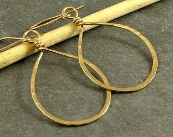 Gold Teardrop Earrings Hammered Gold Teardrop Hoops 14K Gold Fill Jewelry - Medium Gifts for Her