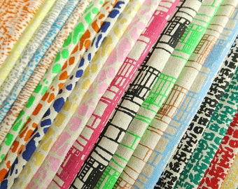 Handprinted fabric bundle - any 4 designs in any colour