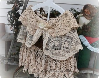 Victorian Cape Bridal Cape Mori Girl Cape Shabby Chic Ladies Fine Vintage Laces and Crochet
