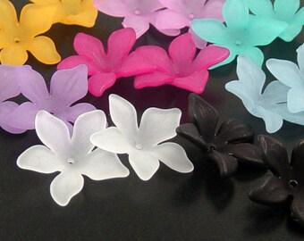 Acrylic Bead 16 Flower Star Daisy 5-Petal Frosted (8 PAIRS) White Black Purple Fuchsia Pink Orange Blue Aqua 27mm x 7mm (1019luc27m5)