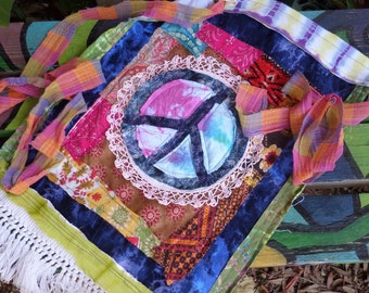 Peace flag, Prayer flag, quilted flag, D22, peace sign, crazy quilt, peace art, hippie decor, peace prayer, boho decor, hippie wedding,