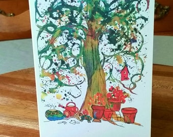 NEW, Flower Pots and Tree Notecard, blank inside