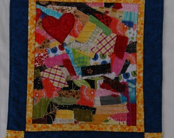 Scrappy Heart  Art Quilt Mini Quilt Coaster Mug Rug One of A Kind in Blue and Yellow