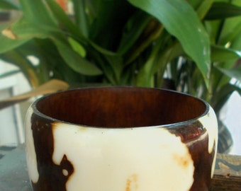Hand Painted Wood Chunky Bracelet Eagles In Flight Boho Chic Festival Ware Style Maker