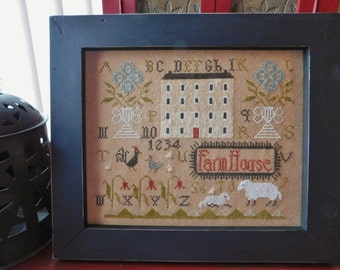 "Primitive Early Style ""Spring FarmHouse"" Sampler, Folk Art Sampler In Handcrafted Frame, Free Shipping"