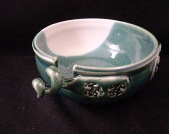 WheelWorksPottery - Yarn Bowl - Dual Function - Emerald Isle