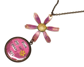 Find Joy in Your Art collage necklace