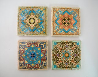 Travertine Tile Coaster Set  Moroccan Ornaments