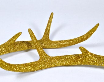 Deer Antlers - Gold Antlers - Faux Taxidermy - Gold Glitter Deer Antlers - Deer Antler Decor - Pair of Antlers - Christmas Decorations