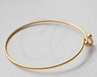 One Piece Premium Matte Gold Plated Brass Base Cuff Bracelets - Bangle 60x1.5mm (1943C-N-310)