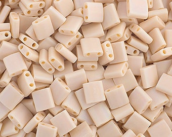 10 Grams Japanese Miyuki Tila Beads-Papaya Whip Opaque AB Matte (TL493FR)
