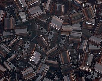 10 Grams Japanese Miyuki Tila Beads-Chocolate Brown Transparent (TL135)