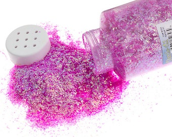 One Package With Sifter Top (450 Grams) Glitter Flakes - Iridescent Pink (511)