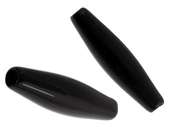 20 Pieces Acrylic Hairbone Pipe - Jet Black 1.5 inch (908)