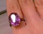FREE SHIPPING! Antique victorian english 9ct rose gold cocktail ring, with a huge faceted amethyst and engraved band