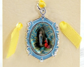Our Lady of Lourdes Medal Vintage but Never Worn Made in Germany Litho Print Catholic Keepsake Jewelry 14249