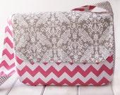 Overnight Weekender - Messenger Bag -Diaper Bag - School Bag - Duffle Bag - Messenger Computer Bag in Pink Chevron and Grey Damask