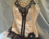 MidWinter Sale 20% Off TUNIC Top Cami Boho Romantic Whimsical Fairylike - Vintage Cami Make Over - Creme & Black