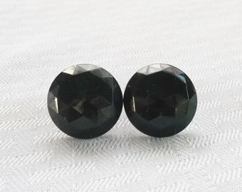 1950s Vintage Black Faceted Button Earrings Screw On Style Japan