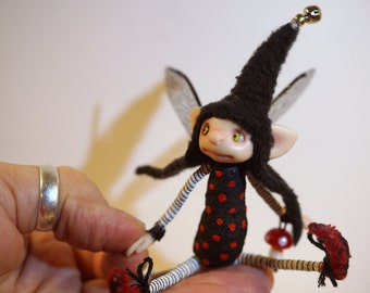 ooak poseable little red shoes ELF pixie fairy  ( #41 ) polymer clay art doll by DinkyDarlings elf pixie faery