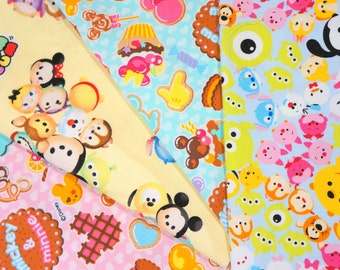 Disney licensed  fabric Disney fabric scrap Minnie  Mouse and Disney Tsum tsum  25 cm by 25 cm or 9.6 by 9.6 inches each piece  2016A