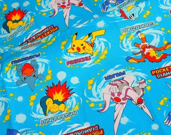 pokemon fabric 50 cm by 53   cm or 19.6 by 21 inches