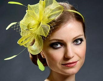 Yellow, neon yellow fascinator, neon yellow wedding fascinator- New item in my 2016 collection