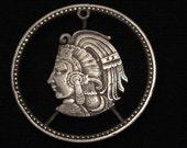 MEXICO - cut coin pendant -  Cuauhtemoc - Last Aztec Emperor - 1956