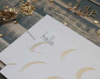 Gold Painted Stationery | Gold Stationary | Hello Card | Watercolor Stationery | All Occasion Stationery | Stationary Set