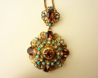 RESERVED  for Hossai Kochai - Beautiful Filigree Vintage Pendant Necklace With Amber Glass Stones and Faux Turquoise and Pearls