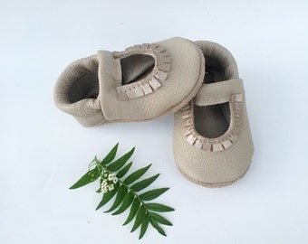 Beige Mary Jane Moccs Soft Soled Leather Shoes Baby and Toddler//Free Shipping in USA// Starry Knight Design