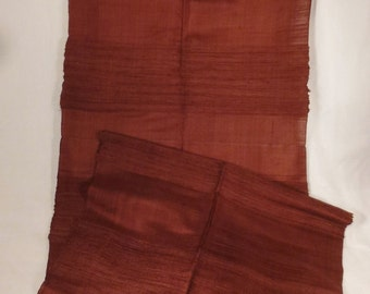 Raw  Silk SCARF 1950s  hand woven  SHAWL hand dyed rich chocolate brown color   60 X 17.5  hand fringed Thailand Siam