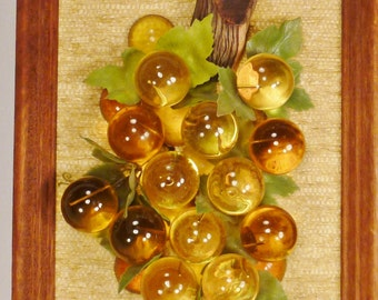 LUCITE GRAPES Amber clear color Mounted assemblage Framed  1950s app 22 x 11 x3 inl