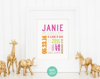 Custom Mixed Typography Birth Announcement // Nursery Print // Birth Stat Poster // Baby Girl, Baby Boy // 8x10 Print
