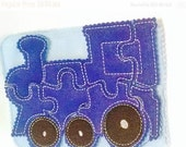 SALE Blue Train felt puzzle with template carry case Felt Puzzle game Perfect for party favors, school treats  busy bags or quiet books